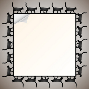 Frame With Silhouette Black Cat