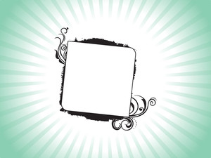 Frame With Swirl And Grunge Elements On Green Background