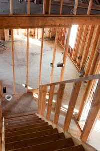 Framed building or residential home with basic electrical wiring and hvac complete.