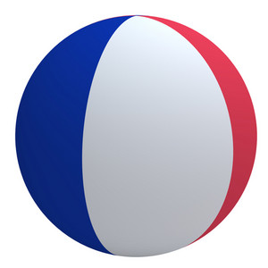 France Flag On The Ball Isolated On White.