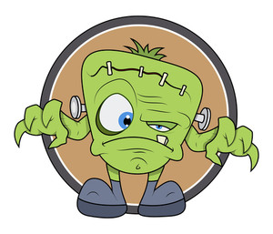 Frankenstein Monster Cartoon - Halloween Vector Illustration