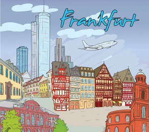 Frankfurt Doodles Vector Illustration