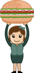 Free Burger - Cartoon Business Vector Character