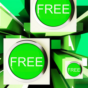 Free Buttons On Cubes Showing Freebie Products