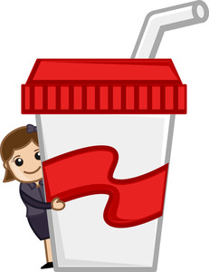 Free Drink - Cartoon Business Vector Character