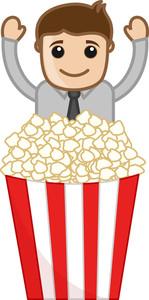 Free Snacks - Cartoon Business Vector Character