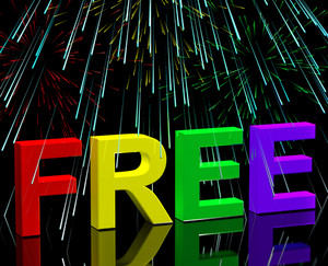 Free Word And Fireworks Showing Freebie And Promo