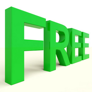 Free Word In Green Showing Freebie And Promotion