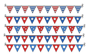 Freedom Celebration Flag Border Elements 4th Of July Vector Illustration