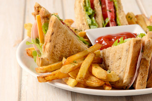 French Fries And Club Sandwich