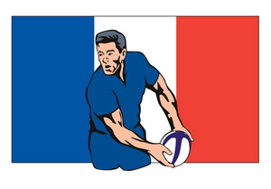 French Rugby Player Passing Ball