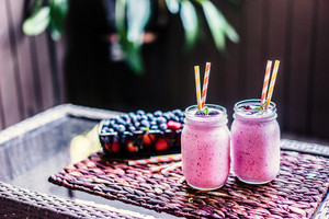 Fresh Berry Smoothies On Mason Jars