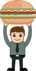 Fresh Burger - Cartoon Business Vector Character