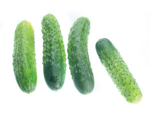 Fresh Cucumbers Isolated On Whita Background