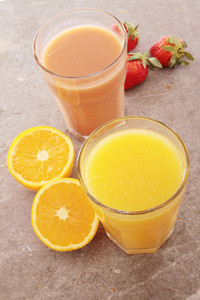 Fresh Orange Juice And Strawberry Smoothie