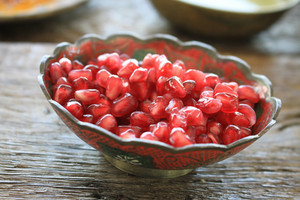 Fresh Pomegranate  Seeds In Dish