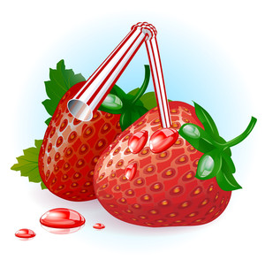 Fresh Ripe Strawberry Juice. Vector.