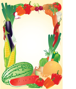 Fresh Vegetables Vector Frame.
