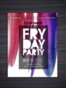 Friday Party celebration flyer banner or template with colorful splash.