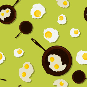 Fried Egg In A Frying Pan. Seamless Texture. Vector Illustration.