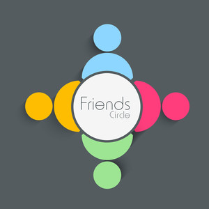 Friend Circle Of Four Friends On Grey Background For Happy Friendship Day
