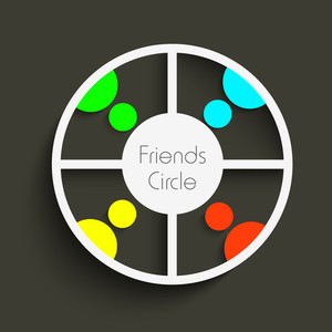 Friend Circle Of Happy Friends On Grey Background For Happy Friendship Day