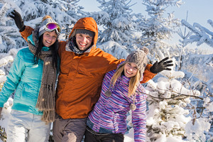 Friends enjoy winter holiday break snow mountains sunny sport