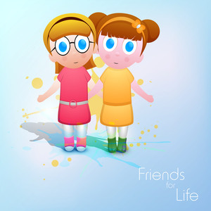 Friendship Day Concept With Cute Girls On Blue Background