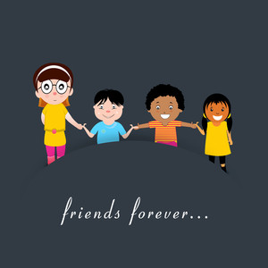 Friendship Day Concept With Group Of Friends Holding Hands On Grey Background