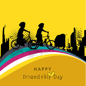 Friendship Day Concept With Silhouette Of Two Young Boys On Yellow Background