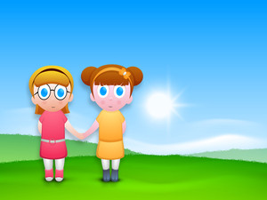 Friendship Day Concept With Two Cute Girls On Beautiful Nature Background
