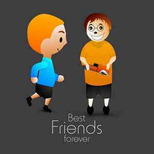 Friendship Day Concept With Two Friends And Text Best Friends Forever On Grey Background
