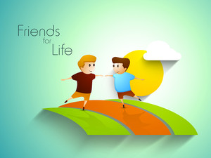 Friendship Day Concept With Two Friends And Text Friends For Life On Nature Background
