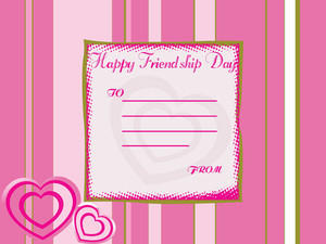 Friendship Day Note With Pink Lines Background