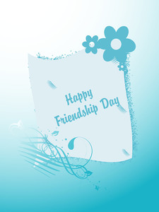Friendship Day On Blue Floral Background