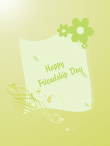 Friendship Day On Green Floral Background