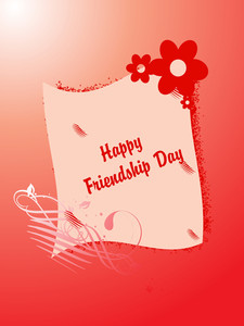 Friendship Day On Red Floral Background