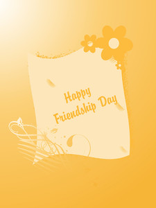 Friendship Day On Yellow Floral Background