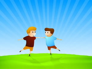 Friendship Day Wallpaper With Two Cute Friends On Blue Background