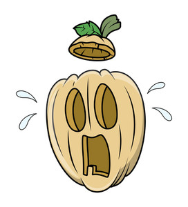 Frightened Jack O' Lantern - Halloween Vector Illustration