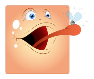 Frog Face Tongue Hunting Insect Cartoon Smiley