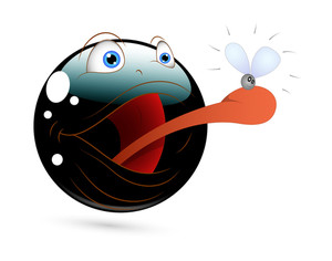 Frog Smiley Attack Fly Cartoon Vector