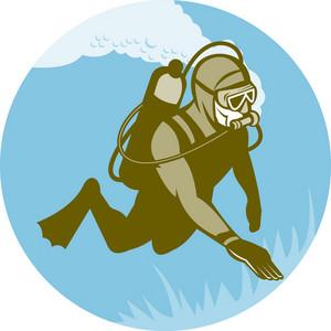 Frogman Scuba Diver Diving