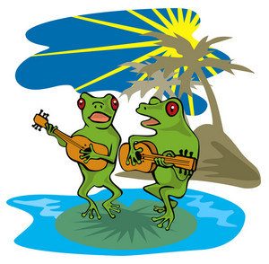 Frogs Playing Guitar Beach