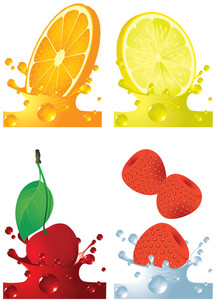 Fruits Splash. Vector.