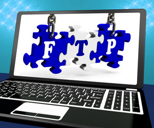 Ftp Puzzle On Laptop Shows Files Transmission