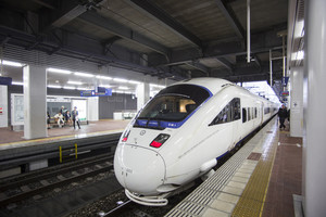 FUKUOKA, JAPAN - OCTOBER 24: Shinkansen in Fukuoka, Japan on October 24, 2013. Japan's southern islands.