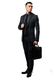 Full-length portrait of a confident businessman with bag isolated on a white background