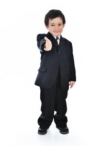 Full portrait of a business kid with his thumbs up