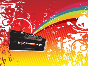 Funky Illustration Of Audio Cassette Tape